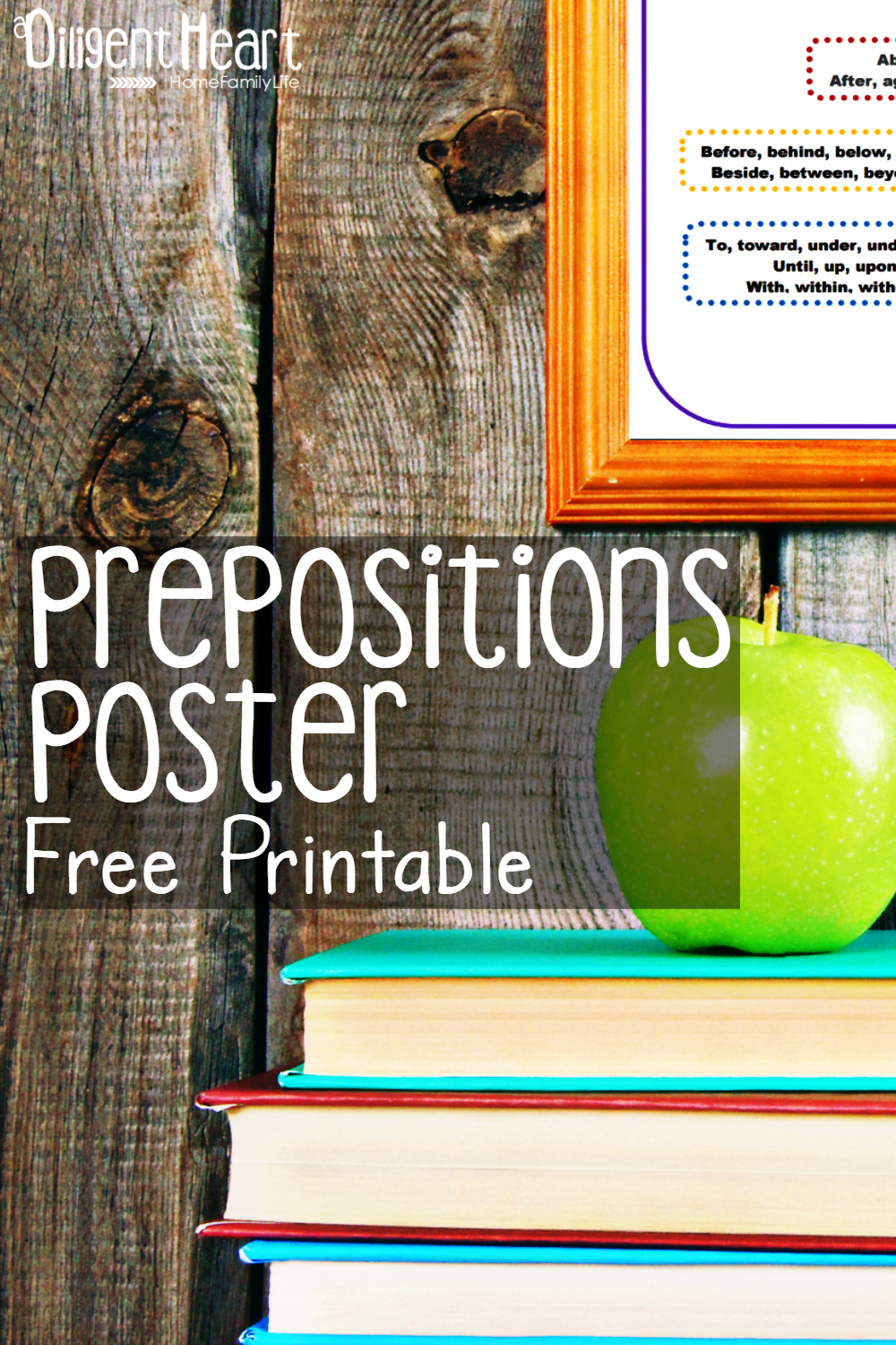 Studying prepositions with your kiddos this year? Use this wall poster to help them practice their prepositions. It's great for them to keep on hand while working through grammar lessons too! Prepositions Poster Free Printable | adiligentherat.com