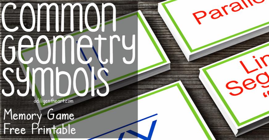 Geometry Symbols Memory Game (free printable)
