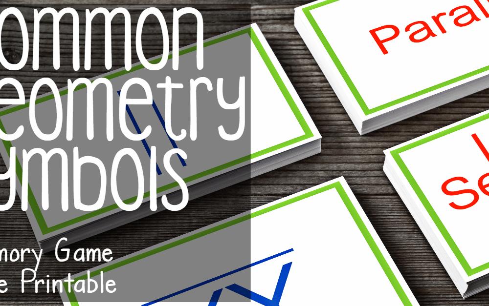 Common Geometry Symbols Memory Game (free printable)