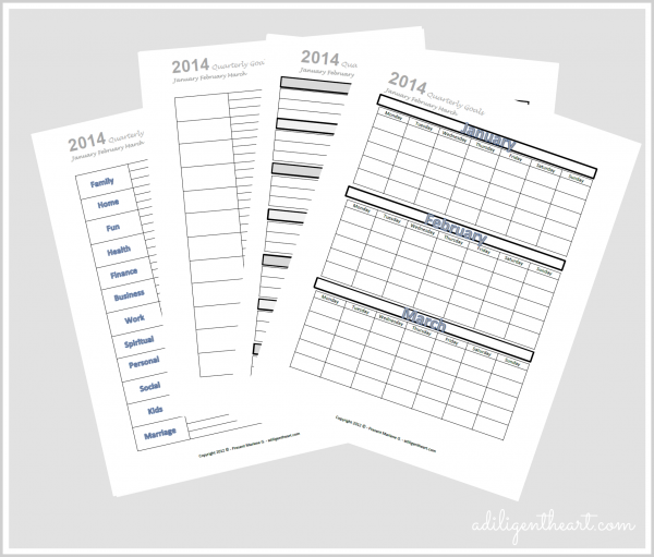 Organizing and Tracking Goals for {Free Printable: Jan. Feb. March}