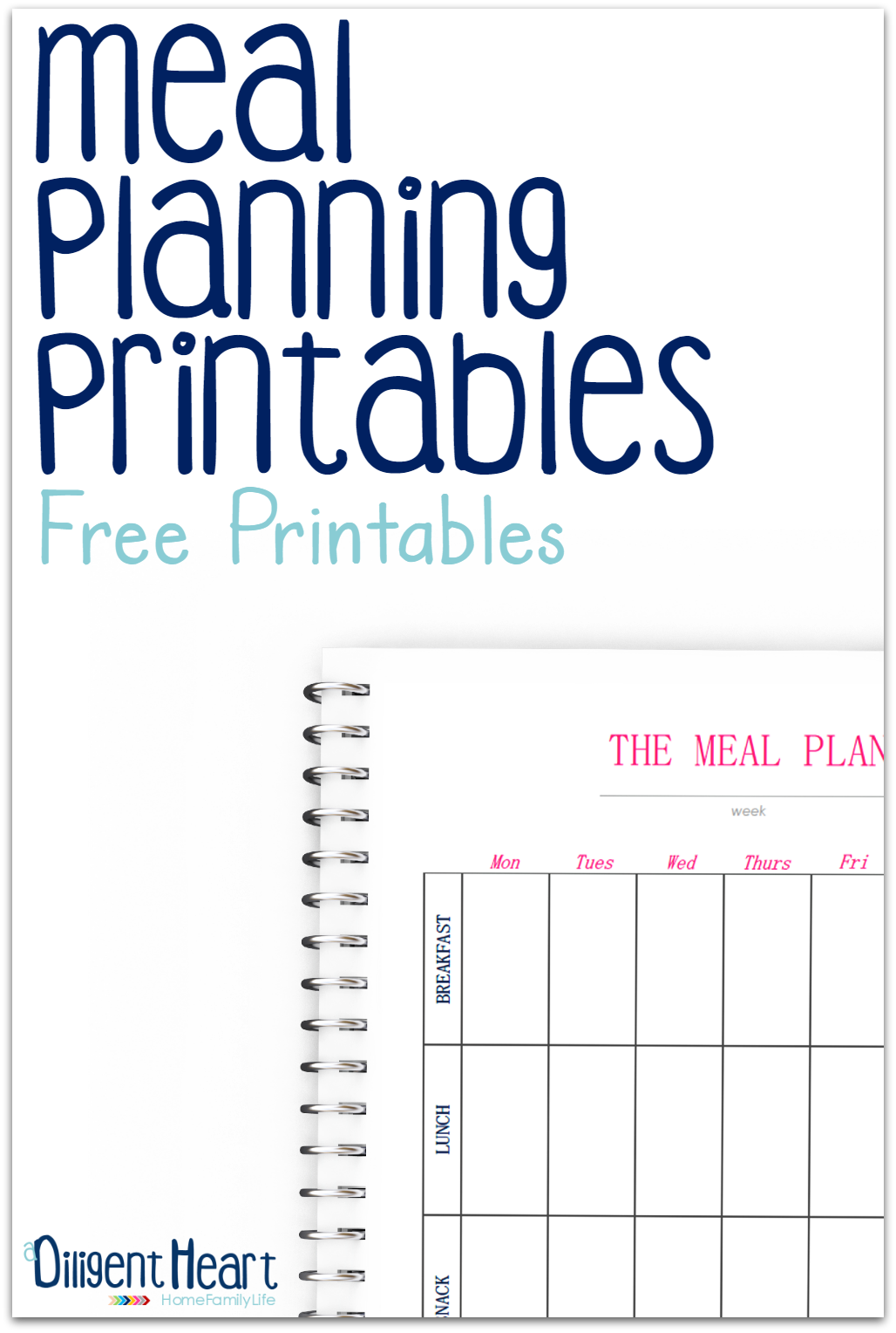 Looking for some sweet, clean, and easy-to-use meal planning pages? This printable will help you get a better hold of your meal planning sessions. With everything in one place, you'll be on top of your meal planning in no time! | adiligentherat.com
