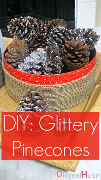 5 Days of Homemade Christmas Crafts: Glittery Pinecones I adiligentheart.com I #ADHChristmasCrafts