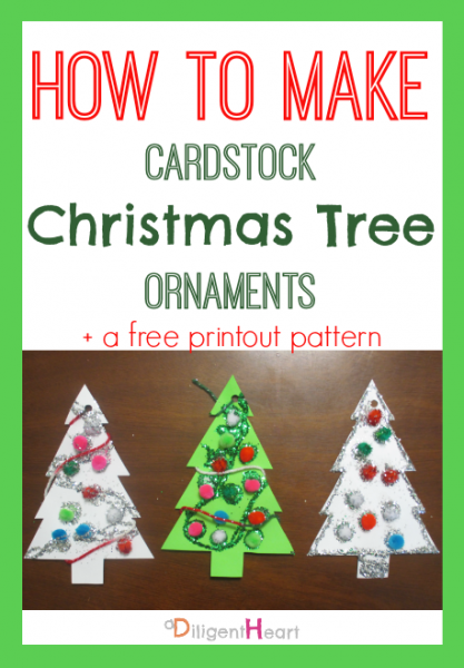 5 Days of Homemade Christmas Crafts: Cardstock Christmas Tree Ornaments I adiligentheart.com I #ADHChristmasCrafts