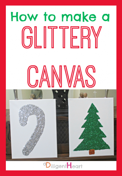 5 Days of Homemade Christmas Crafts: Glittery Canvas I adiligentheart.com