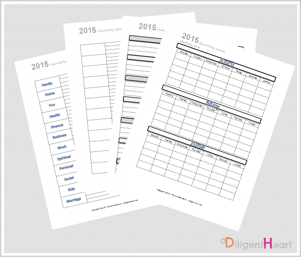 Organizing and Tracking Goals: April May June 2015 {FREE Printables!}