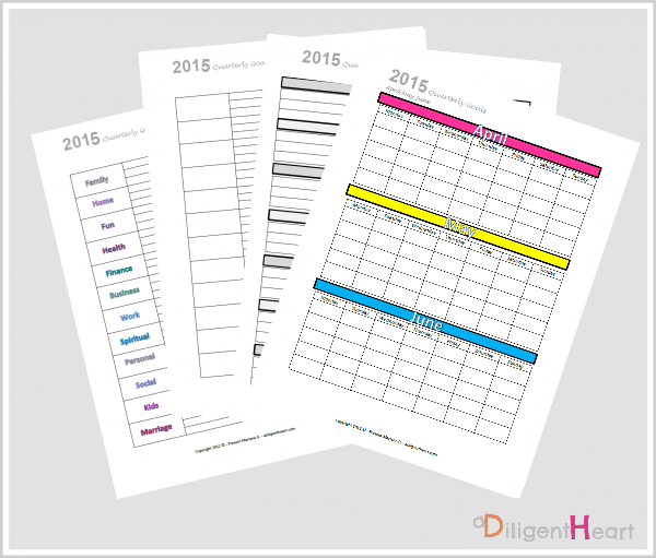 Organizing and Tracking Goals for {Free Printable April May June} Color Coded