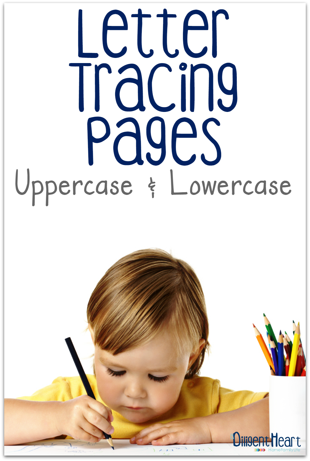 Looking for some great letter tracing activities for your little ones? These are a great addition to your kiddos letter practice! Letter Tracing Pages Uppercase and Lowercase | adiligentheart.com