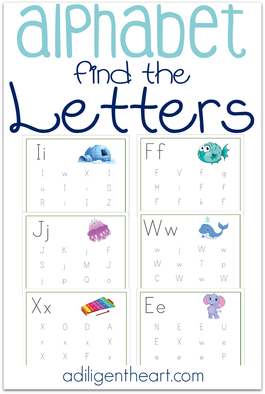 These Alphabet Find the Letters Pages are a great resource for your early learner. Perfect for your Preschooler or Kindergartner! Alphabet Find the Letters Free Printable Pack | adiligentheart.com