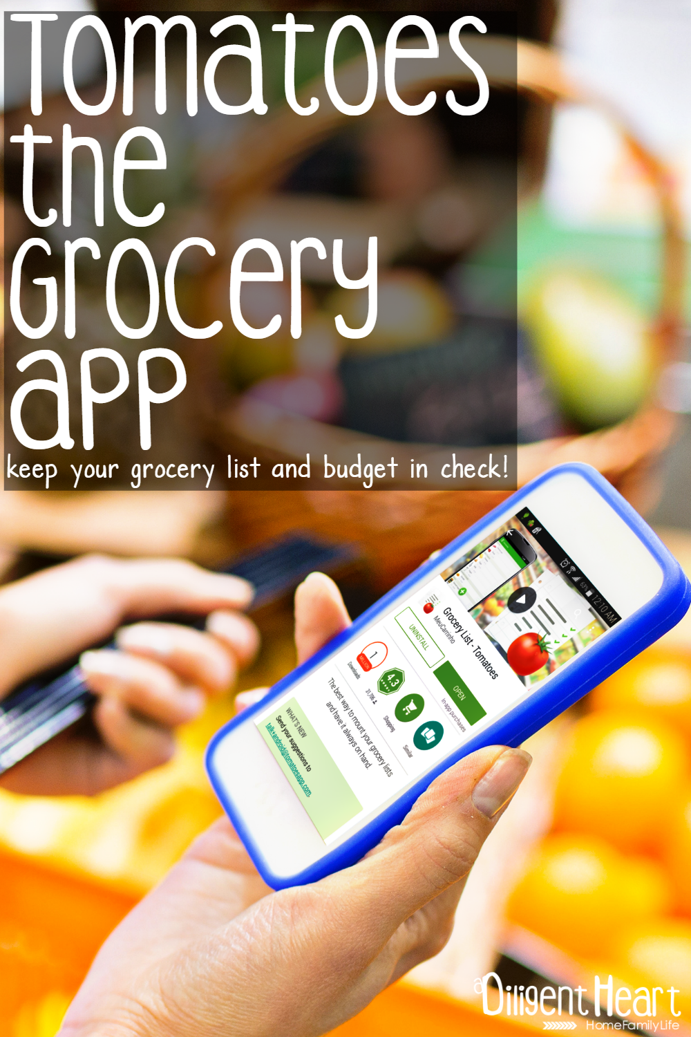 Need help staying on top of your grocery budget? This app will not only help you do that but it will store your custom pricing! Which means, you can plan out futures grocery trips budget before even heading to the store! Check out Tomatoes the Grocery App I adiligentheart.com