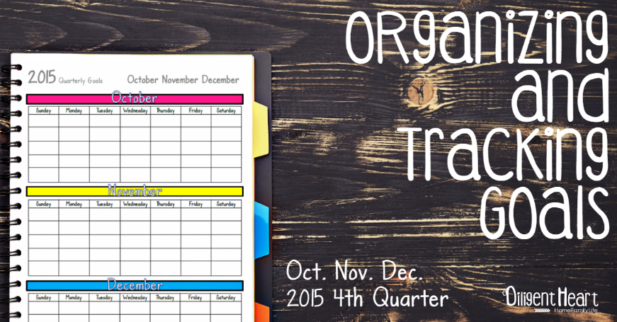 Organizing and Tracking Goals: 4th Quarter 2015