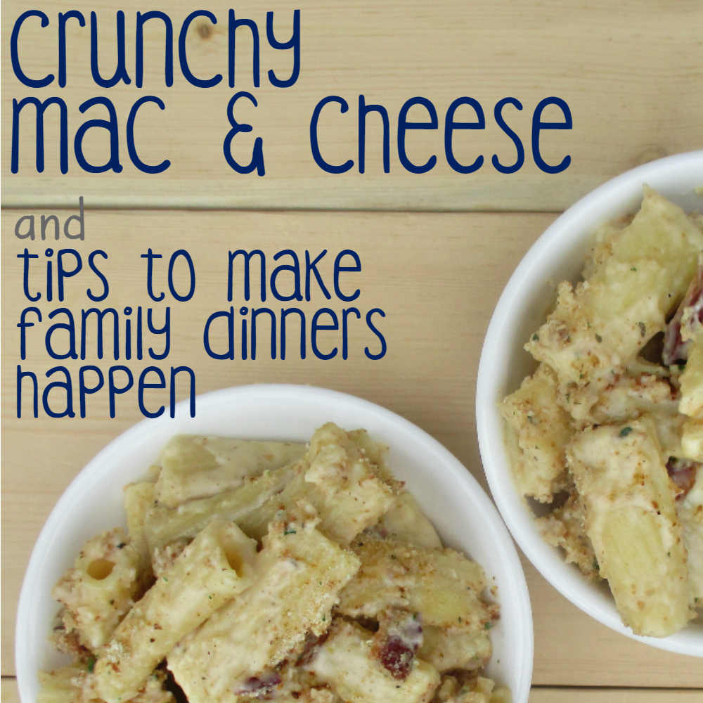 I'm sharing a one of our family favorite recipes: Crunchy Mac & Cheese!! Super easy to make and a total win for the whole family! Plus, some tips on making family meal time happen! #BaconDoneWright [ad]