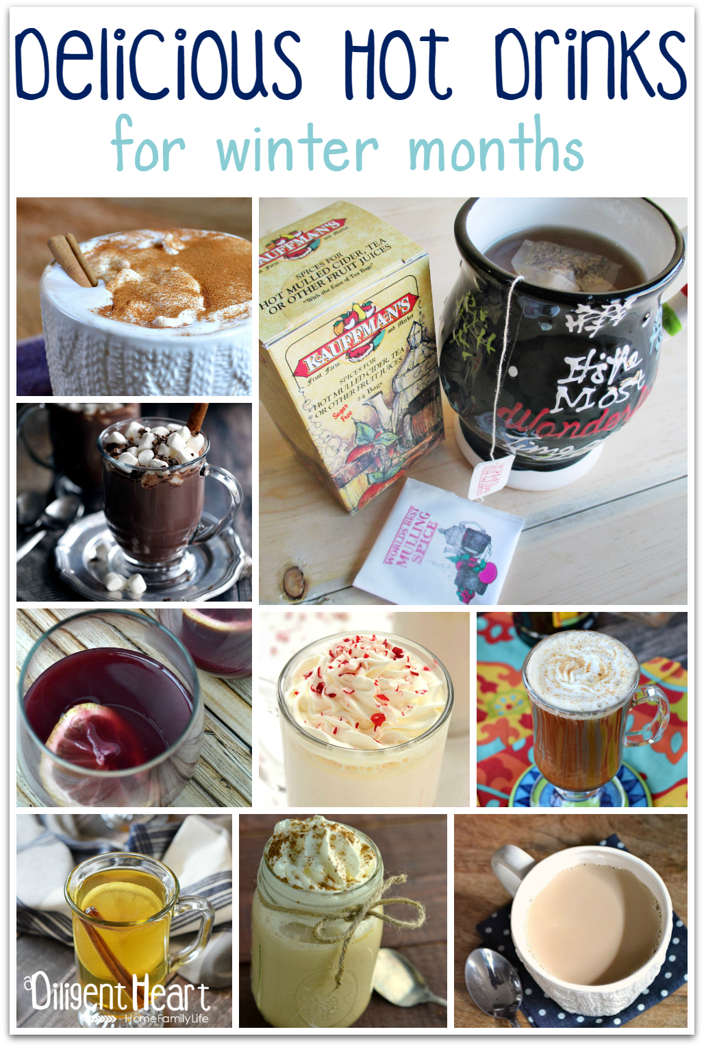 I've been craving some delicious hot drinks to sip on during these cooler months. And this time of year, I love to try new things and put a little twist on traditional hot drink ideas. I've pulled together some delicious hot drinks for the winter months in this post to get some inspiration and to give you some too! Check them out!! | adiligentheart.com