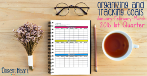 Organizing and Tracking Goals: 1st Quarter 2016