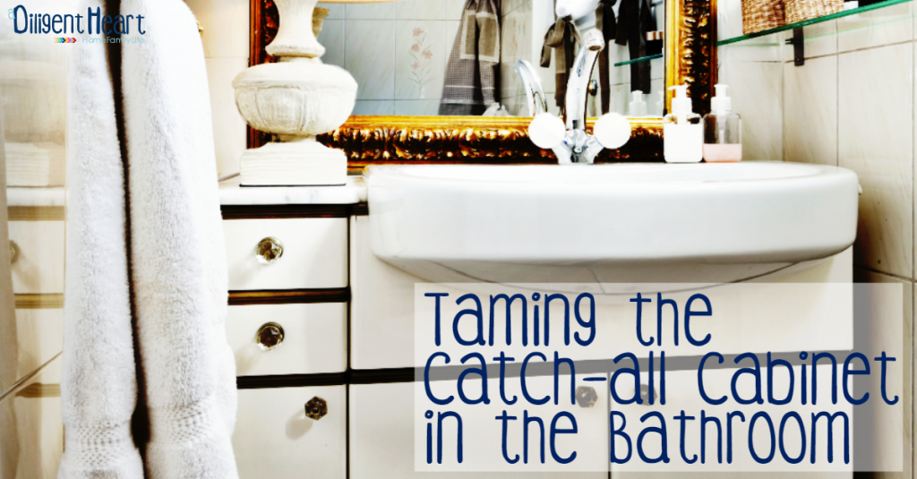 FB Image Taming the  Catch-All Cabinet In the Bathroom