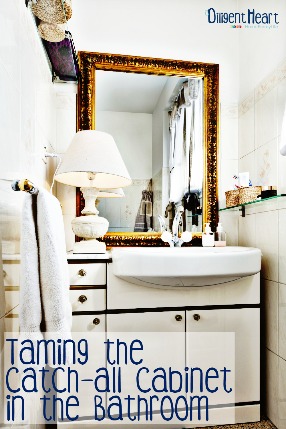 Like mine, does your bathroom have one of those catch-all cabinets? You know the one – it houses every random thing you keep in your bathroom. I'm sharing a few really simple tips to help you tame the chaos in that cabinet!